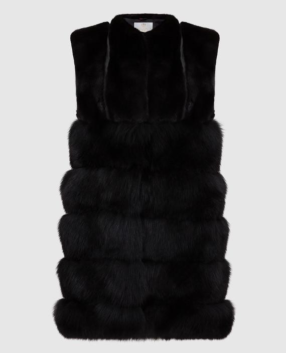 Черный жилет из меха лисы и соболя