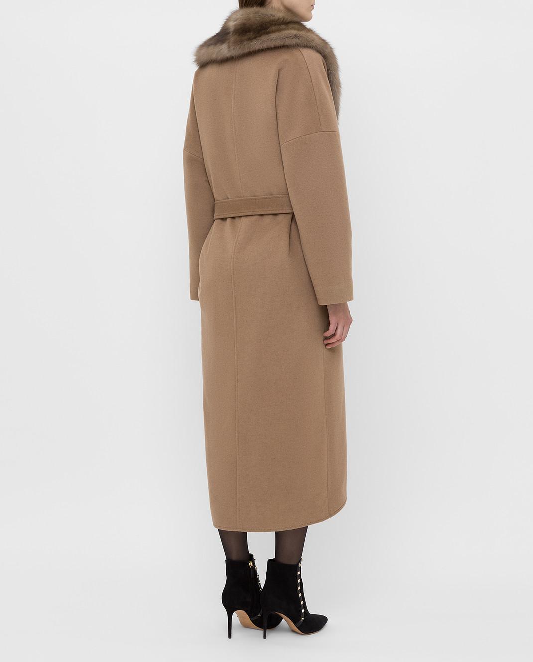 Real Furs House Бежевое пальто из кашемира с мехом соболя изображение 4