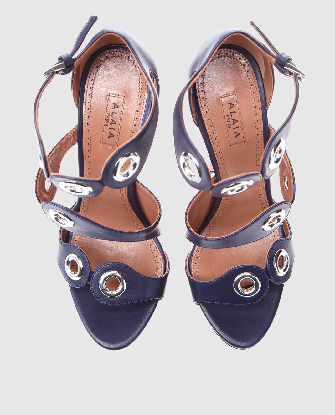 Azzedine Alaia Синие кожаные босоножки 7E3X404CG68 изображение 4