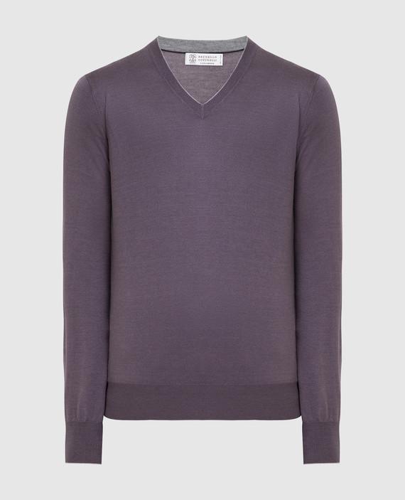 Темно-сиреневый пуловер из кашемира и шелка