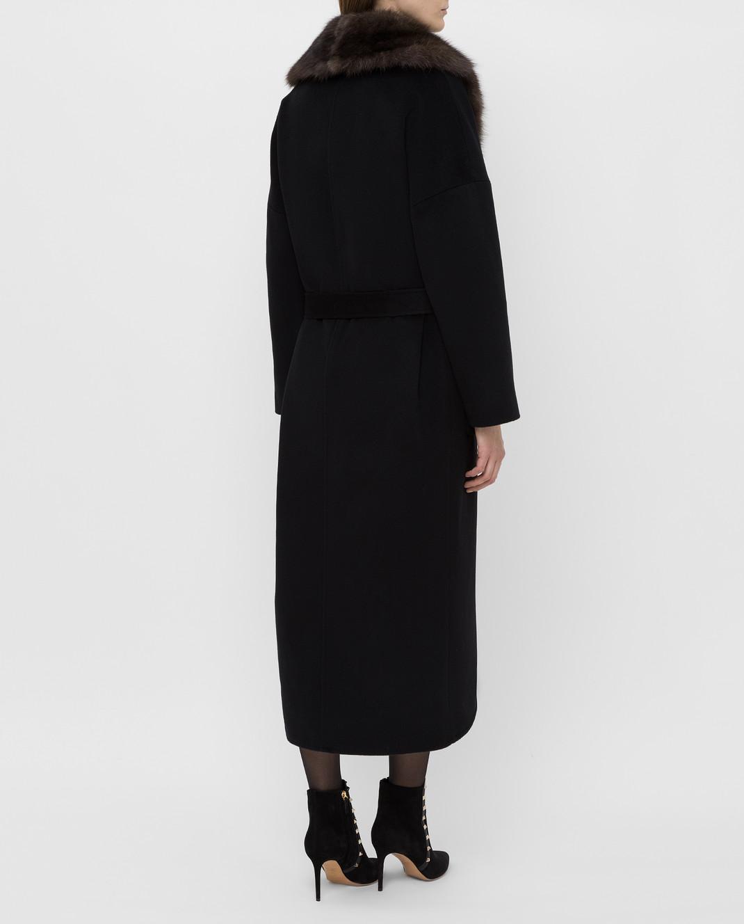 Real Furs House Черное пальто из кашемира с мехом соболя GT02 изображение 4