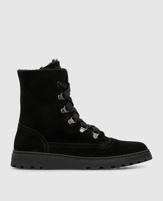 Детские черные замшевые ботинки на меху