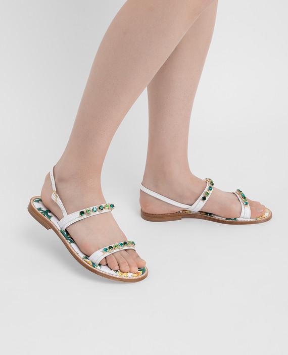 Белые кожаные сандалии с кристаллами hover