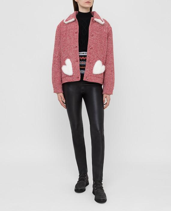 Красное пальто из шерсти с мехом норки hover
