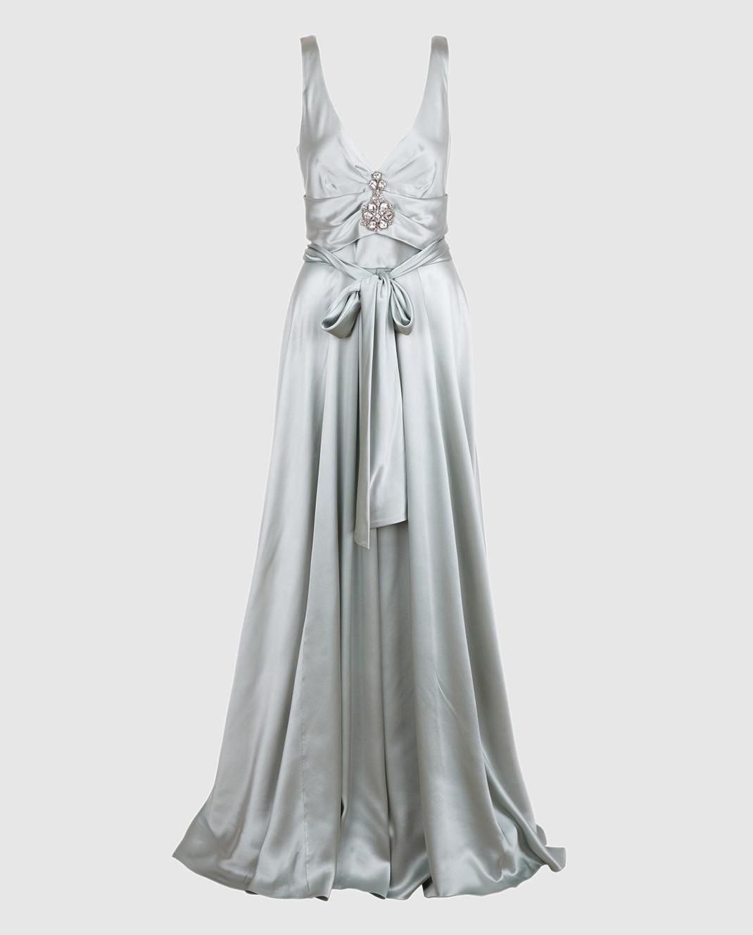 Collette Dinnigan Светло-серое платье из шелка 11115082