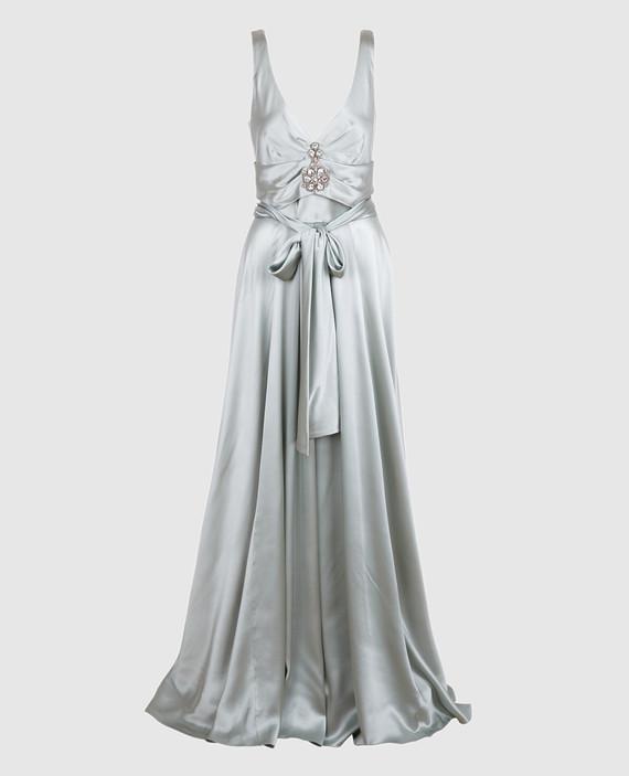 Светло-серое платье из шелка