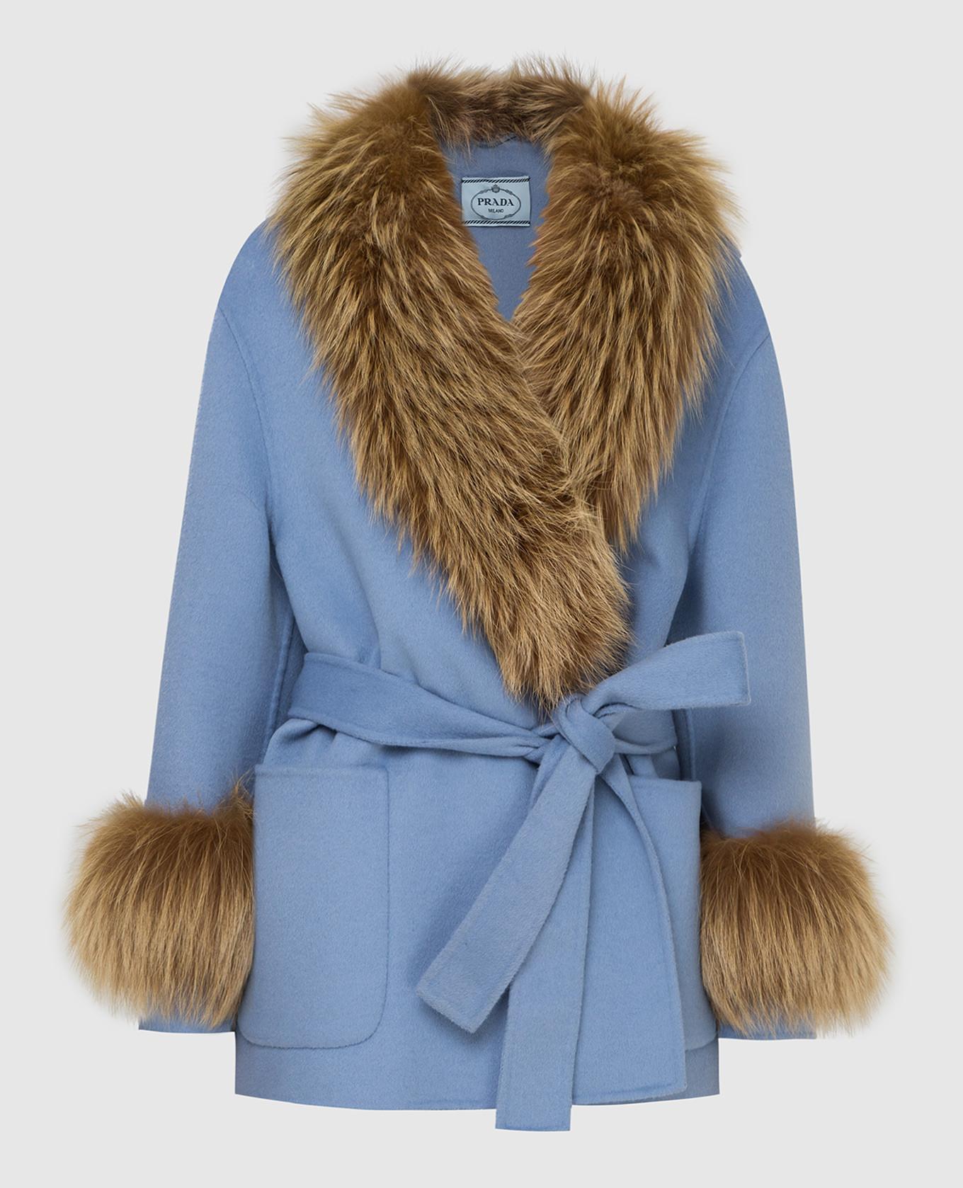 Голубое пальто с мехом лисы