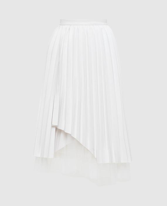 Белая юбка с плиссировкой