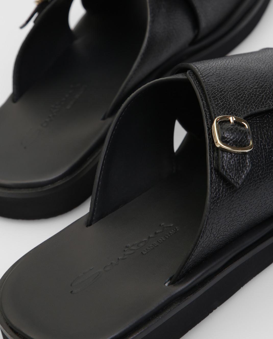 Santoni Черные кожаные шлепанцы изображение 5