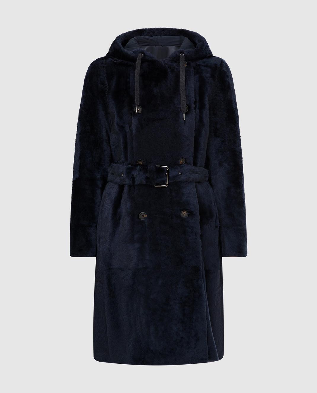 Brunello Cucinelli Темно-синяя шуба изображение 1