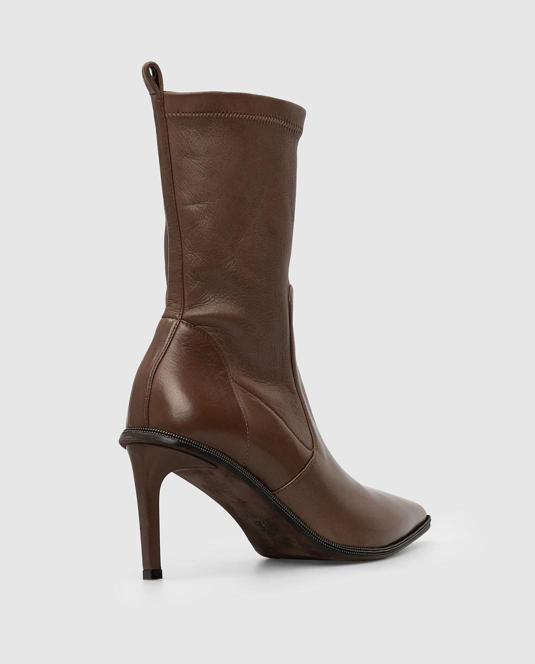 Brunello Cucinelli Темно-коричневые кожаные ботильоны изображение 4
