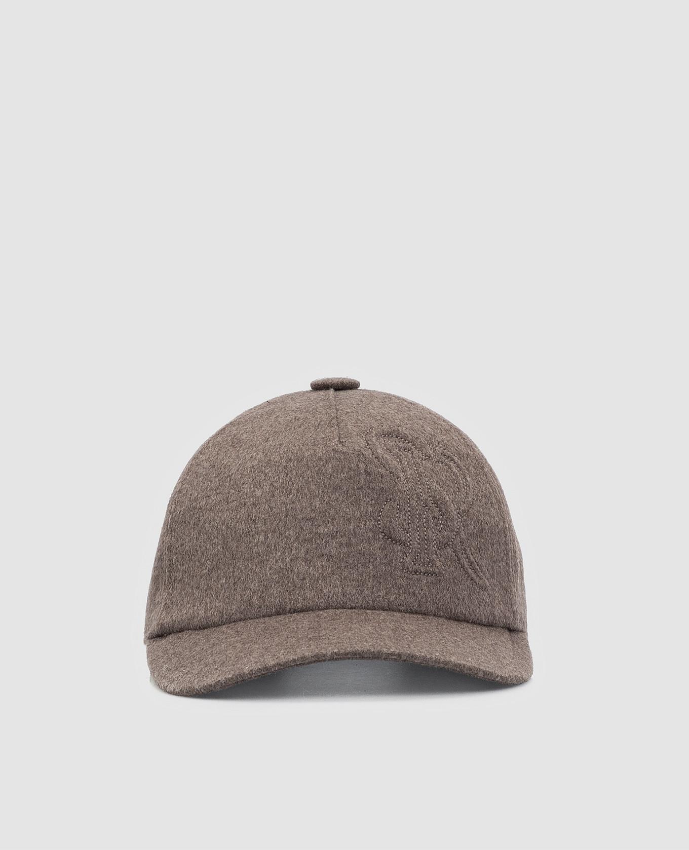 Темно-бежевая кепка из кашемира