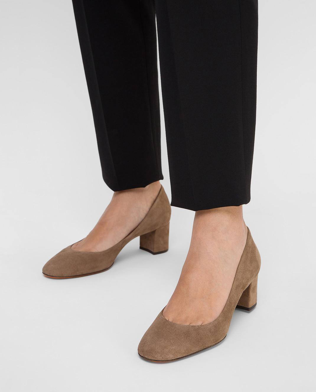 Santoni Бежевые замшевые туфли изображение 2