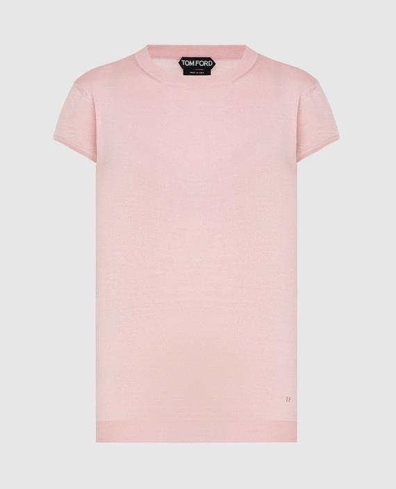 Розовая футболка из кашемира и шелка