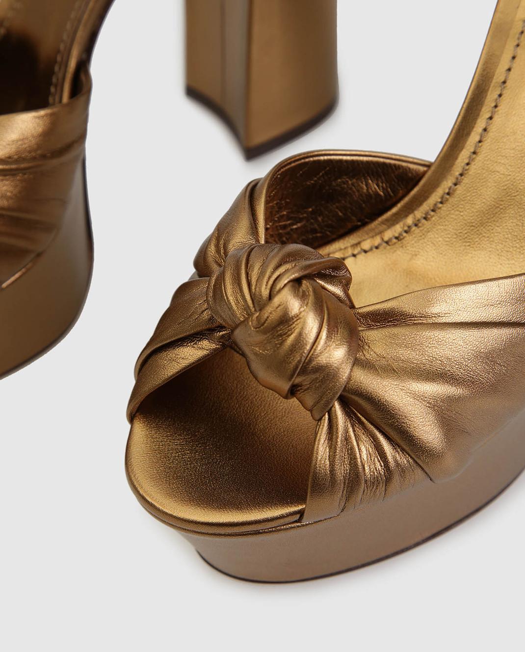 Dolce&Gabbana Золотистые кожаные босоножки CR0695A1016 изображение 5