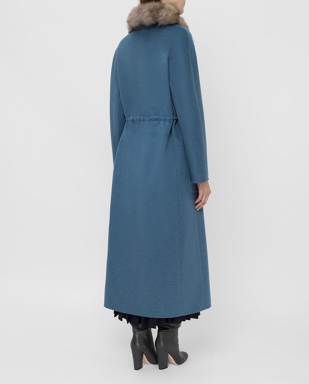 Real Furs House Синее пальто из кашемира с мехом соболя GT01lLIGHTBLUE изображение 4