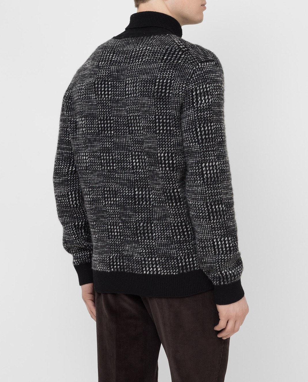 Ermenegildo Zegna Черный свитер из кашемира и шелка URH85120 изображение 4