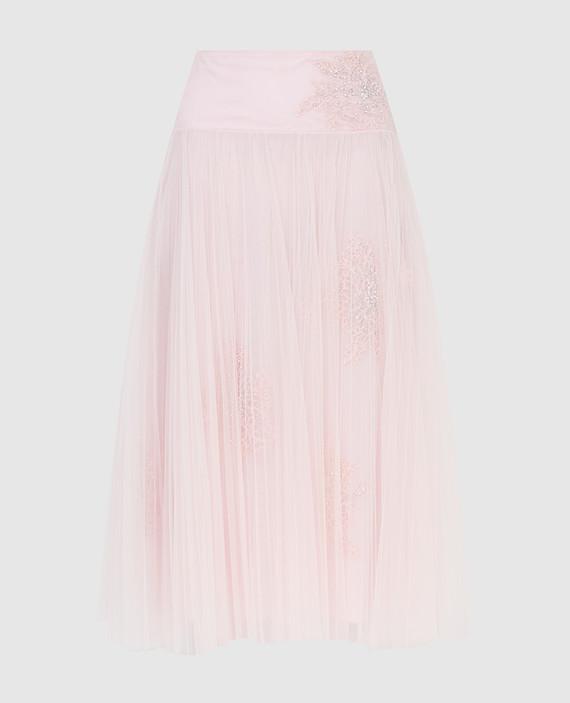 Розовая юбка с кристаллами