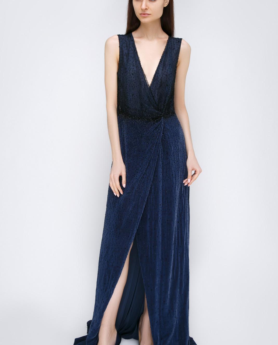 Dennis Basso Синее платье 13508 изображение 2