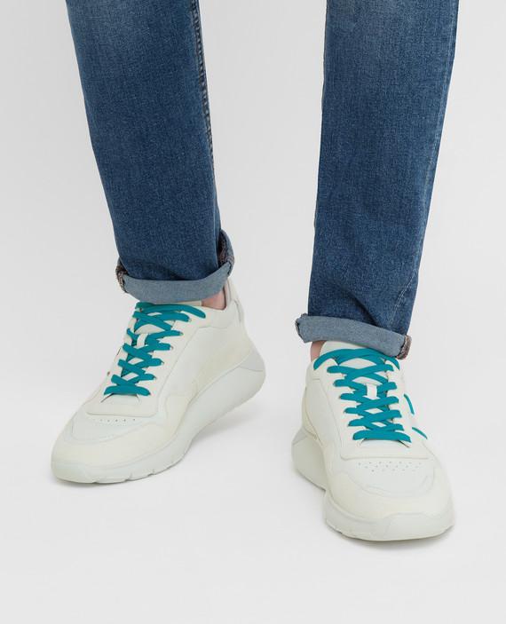 Белые кожаные кроссовки hover