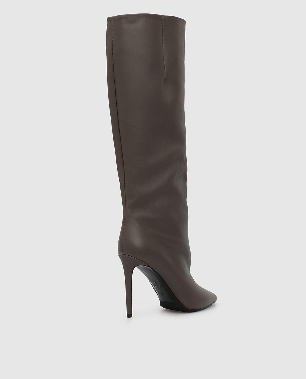 Babe Pay Pls Темно-бежевые кожаные сапоги изображение 4