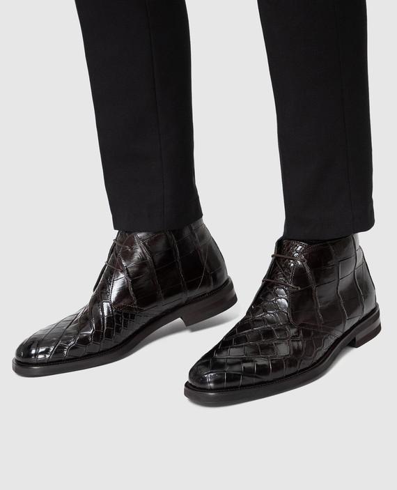 Темно-коричневые дезерты из кожи крокодила hover