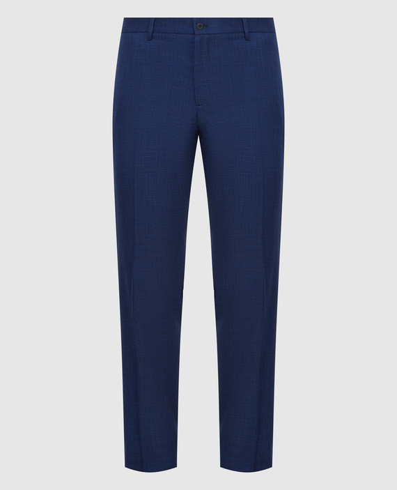 Темно-синие брюки из шерсти и шелка