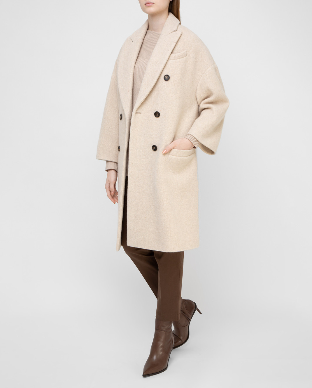 Brunello Cucinelli Светло-бежевое пальто изображение 2