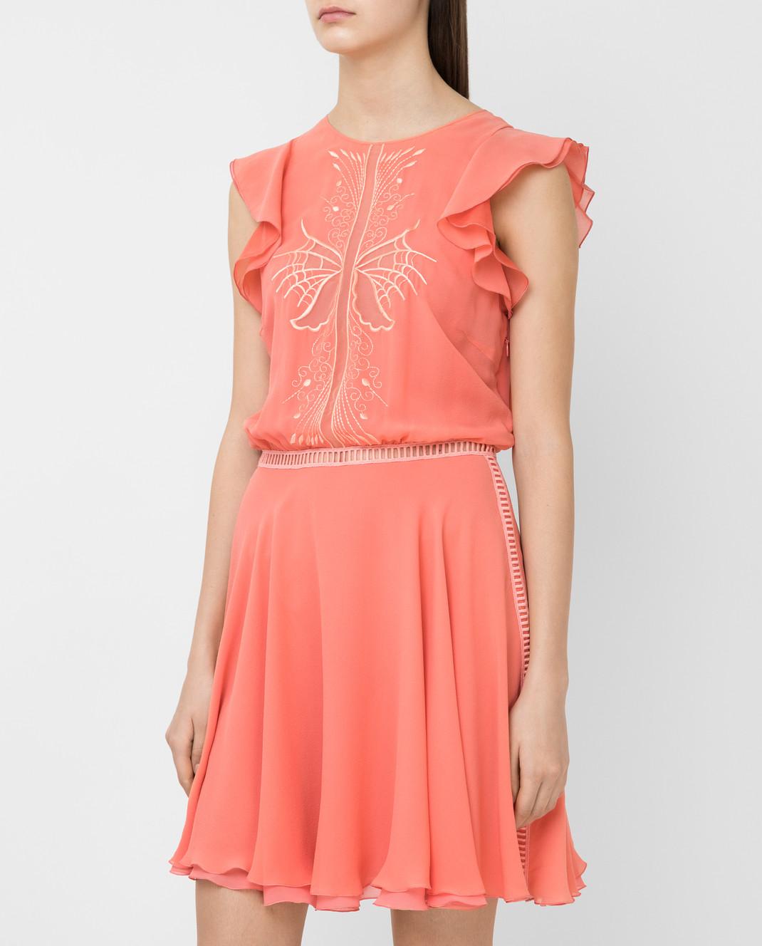 Giamba Коралловое платье из шелка PG5250 изображение 3