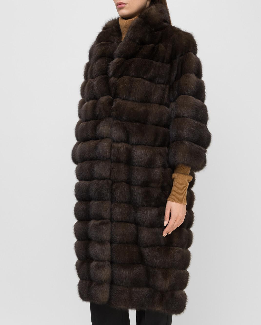 Real Furs House Темно-коричневая шуба из соболя 24342SILVERY изображение 3