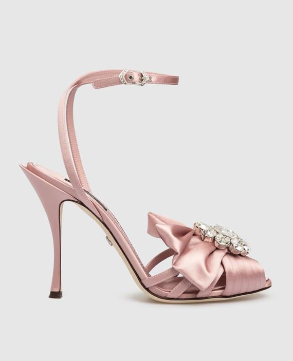 Розовые босоножки с кристаллами