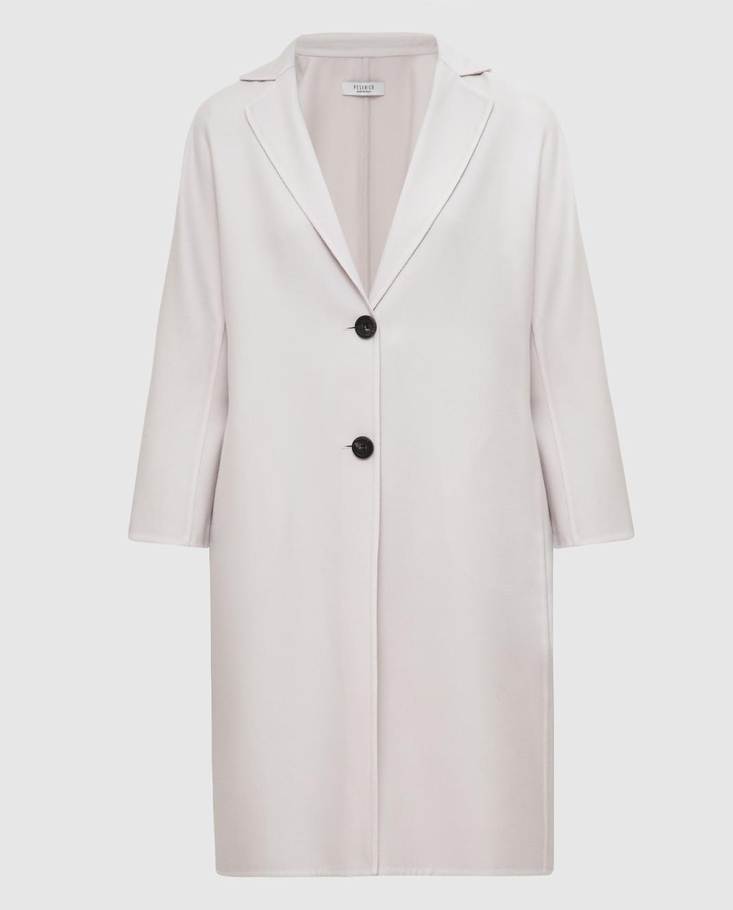 Peserico Светло-бежевое пальто из кашемира и шерсти S20493E