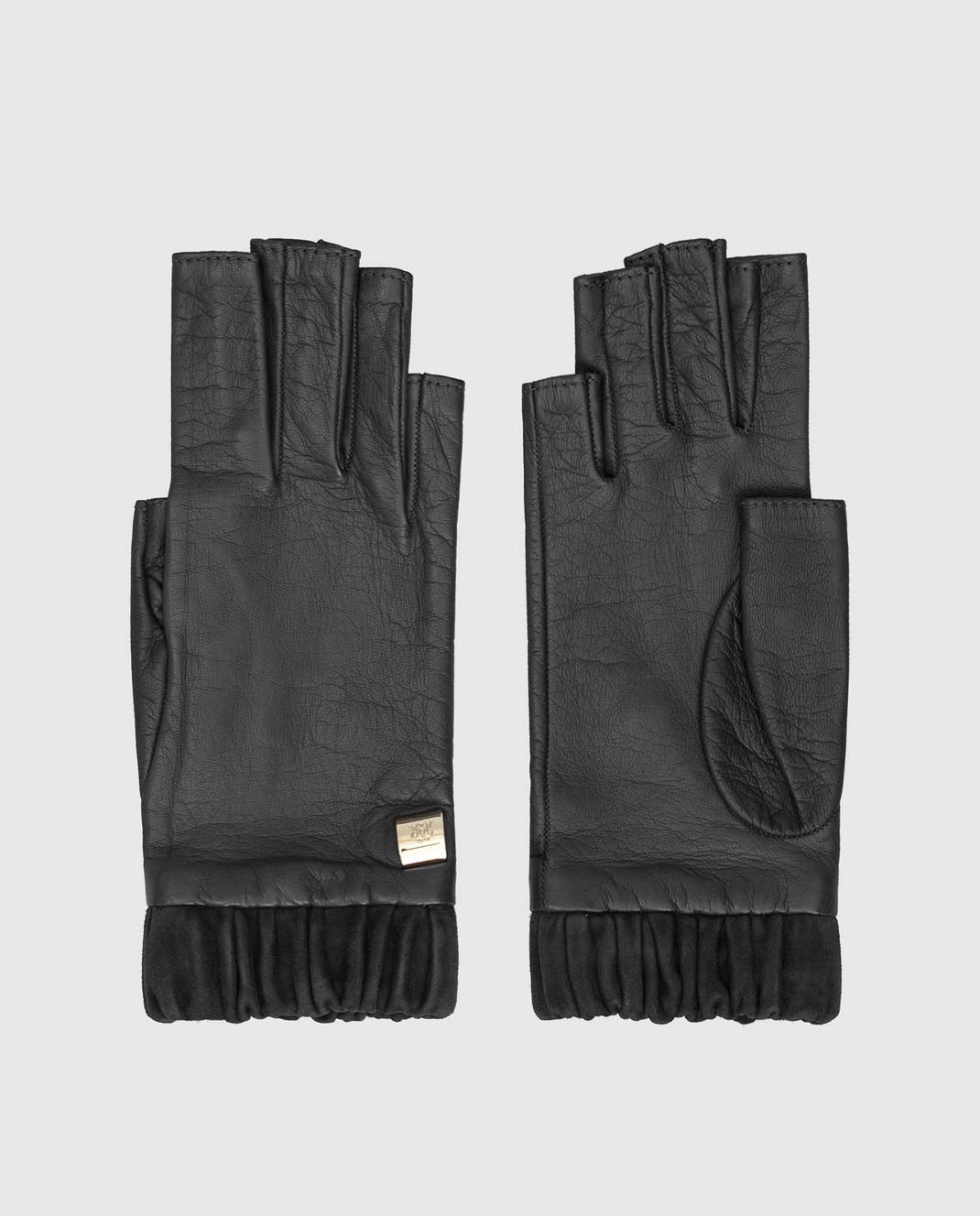 Черные кожанные митенки Rindi 3013NPR6 — Symbol