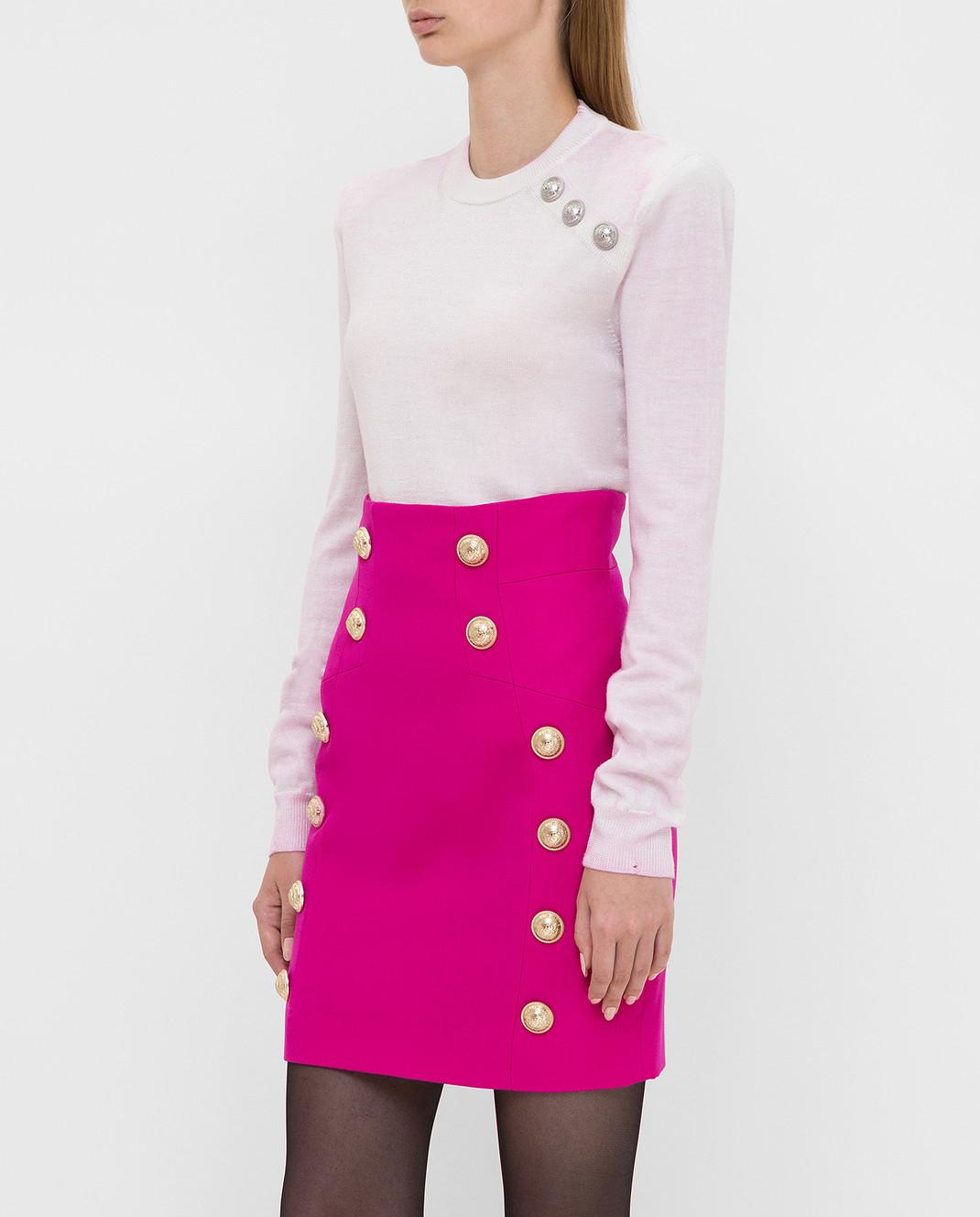 Balmain Светло-розовый свитер из шерсти изображение 3