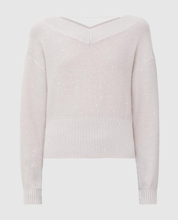 Светло-бежевый пуловер из кашемира и шелка
