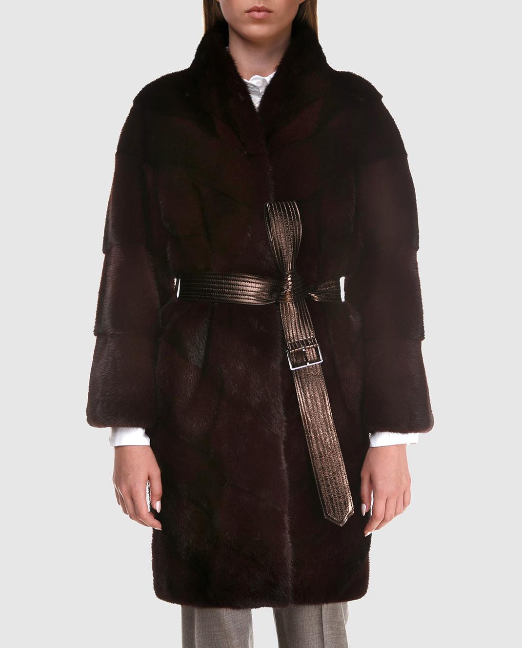 Florence Mode Бордовая шуба из меха норки с поясом 18N139RED изображение 3