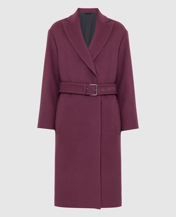 Светло-бордовое пальто из шерсти и кашемира