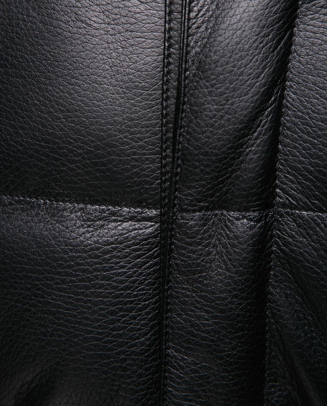 Enrico Mandelli Черный пуховик из кожи оленя со съёмным воротником из меха нутрии A6T167 изображение 5