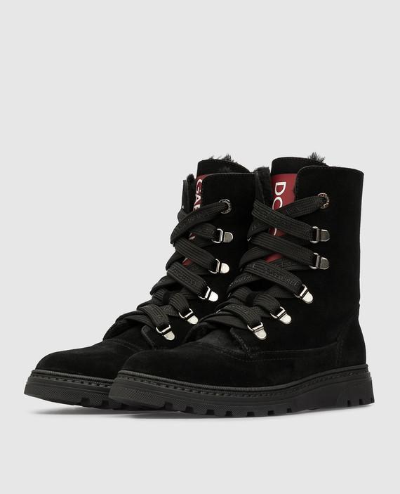 Детские черные замшевые ботинки на меху hover
