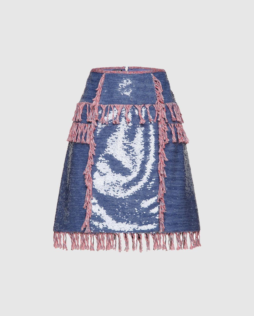 Balmain Синяя юбка с пайетками 124500