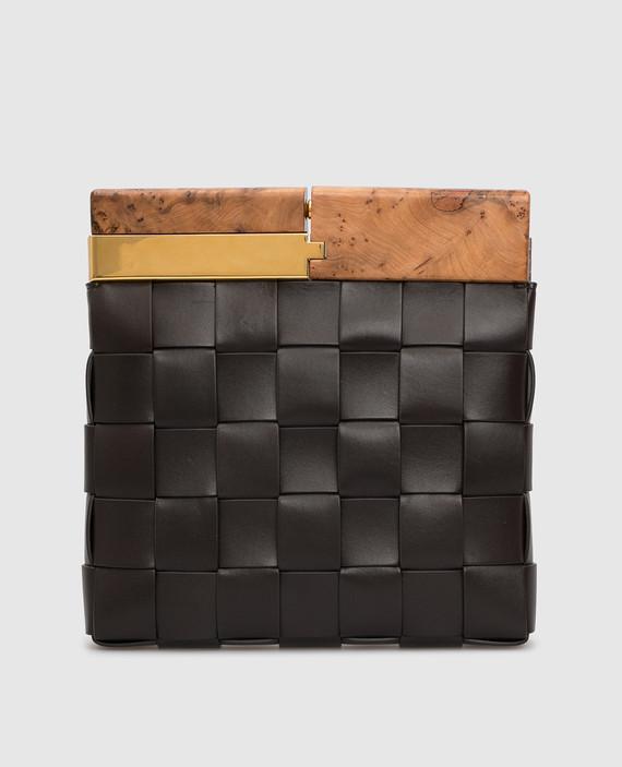 Темно-коричневый кожаный клатч