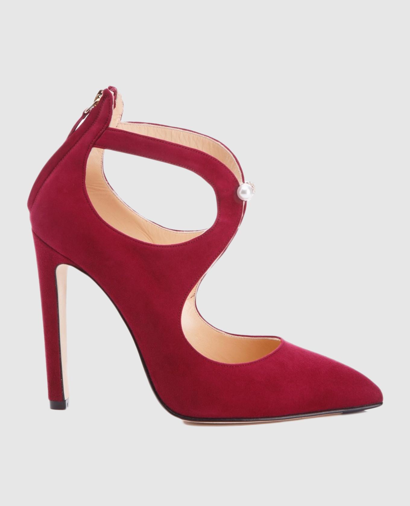 Бордовые замшевые туфли PAOLA
