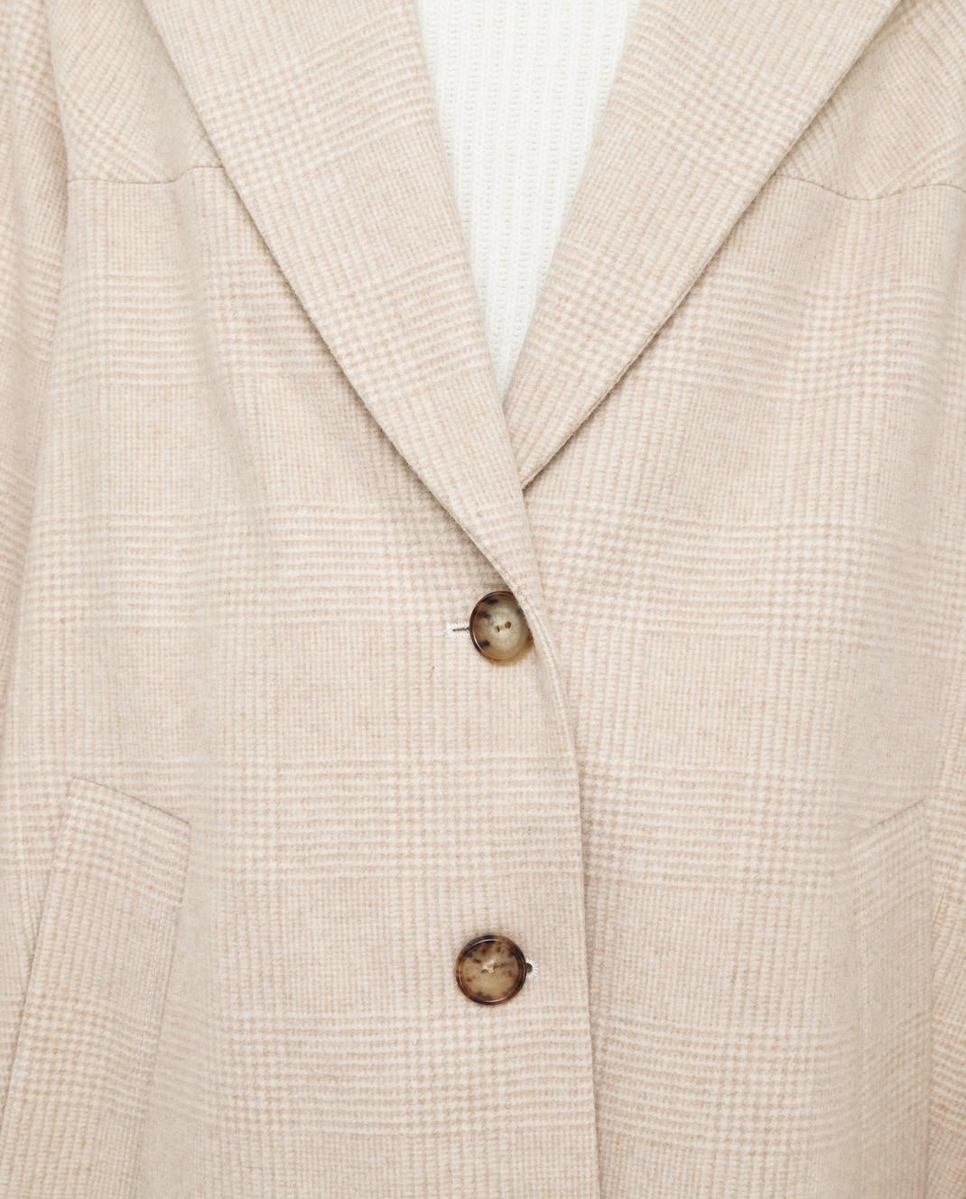 NINA RICCI Светло-бежевое пальто из шерсти изображение 5