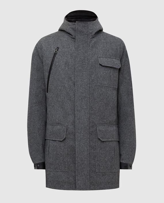 Серое пальто из кашемира с мехом нутрии