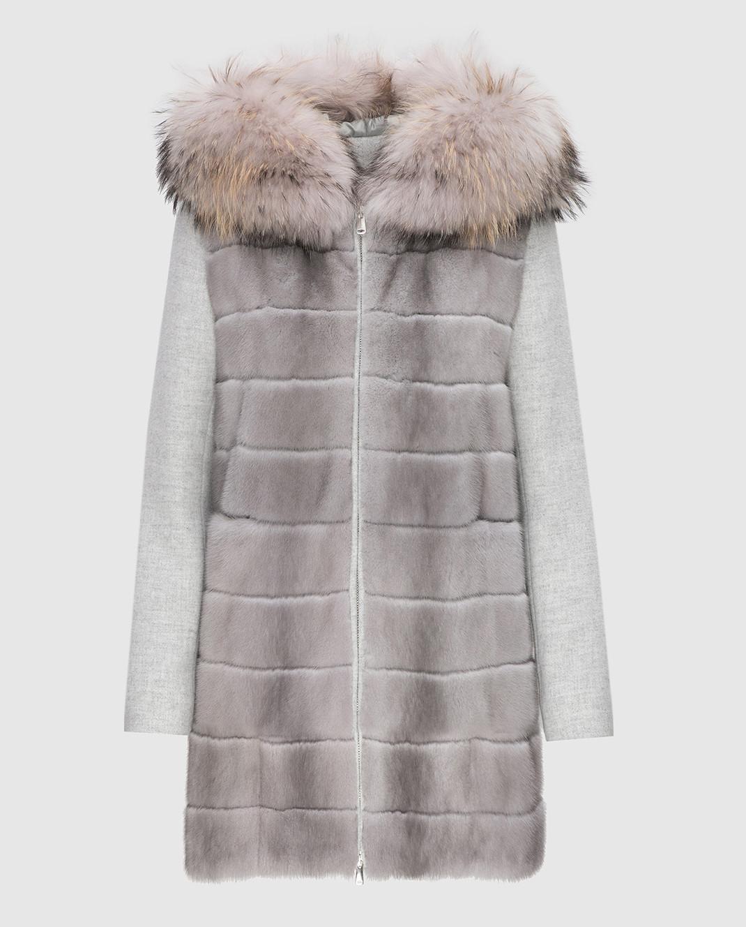 Real Furs House Серое пальто с мехом енота 922RFH