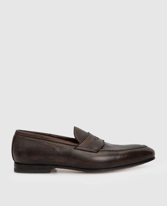 Темно-коричневые кожаные лоферы