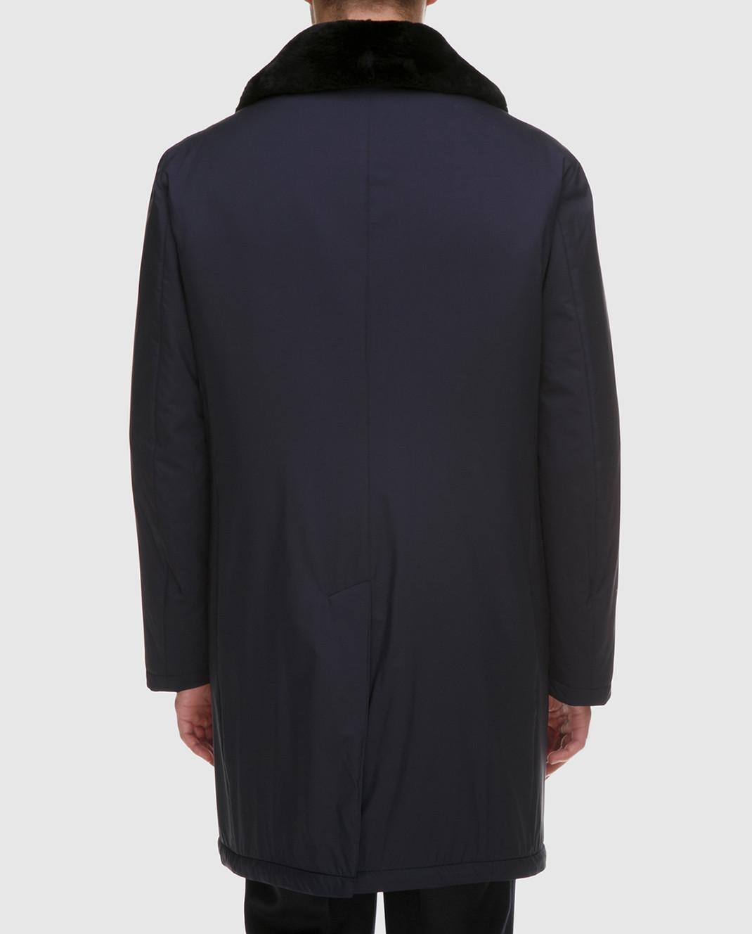 Enrico Mandelli Синее пальто из шелка со съёмным воротником из меха нутрии A6T766 изображение 4