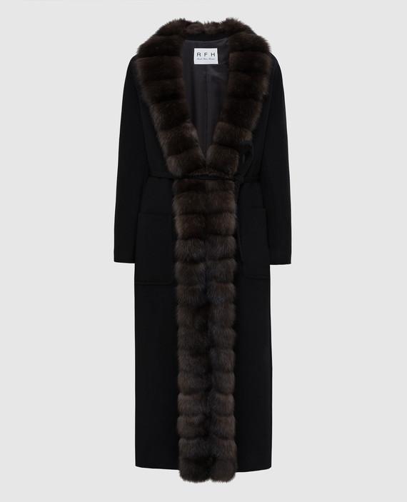 Черное пальто из кашемира с мехом соболя