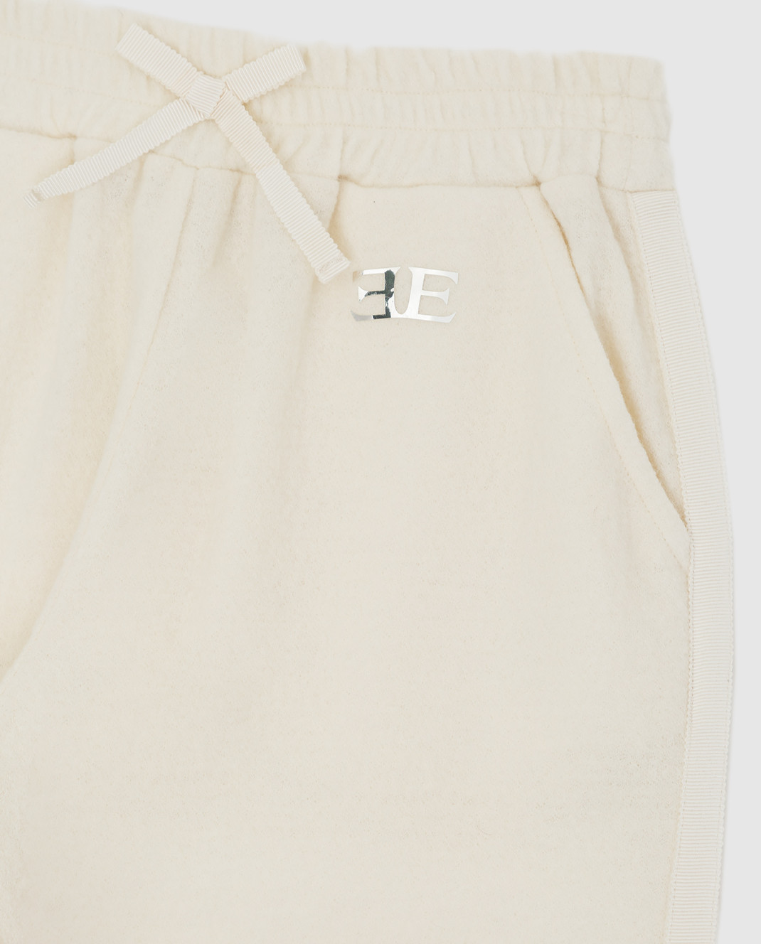 Ermanno Scervino Детские светло-бежевые спортивные брюки из шерсти PL071016 изображение 3