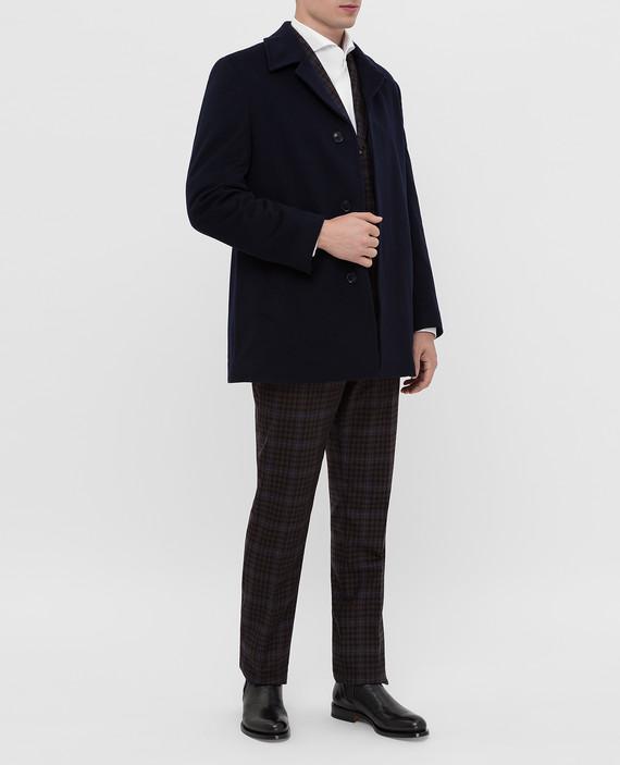 Темно-синее пальто из шерсти на меху из норки hover